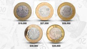 Las cinco inusuales monedas de 20 pesos que se cotizan en línea entre 19,000 y 35,000 pesos