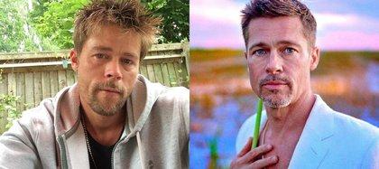 Nathan Meads se parece al actor hollywoodense (Foto: Instagram@bradpitt_lookalike/@bradpittofflcial)