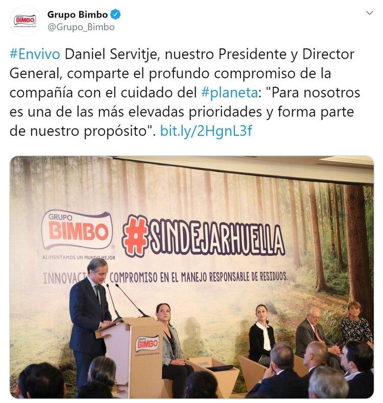 Daniel Servitje en la presentación del nuevo empaque compostable (Foto: Twitter)