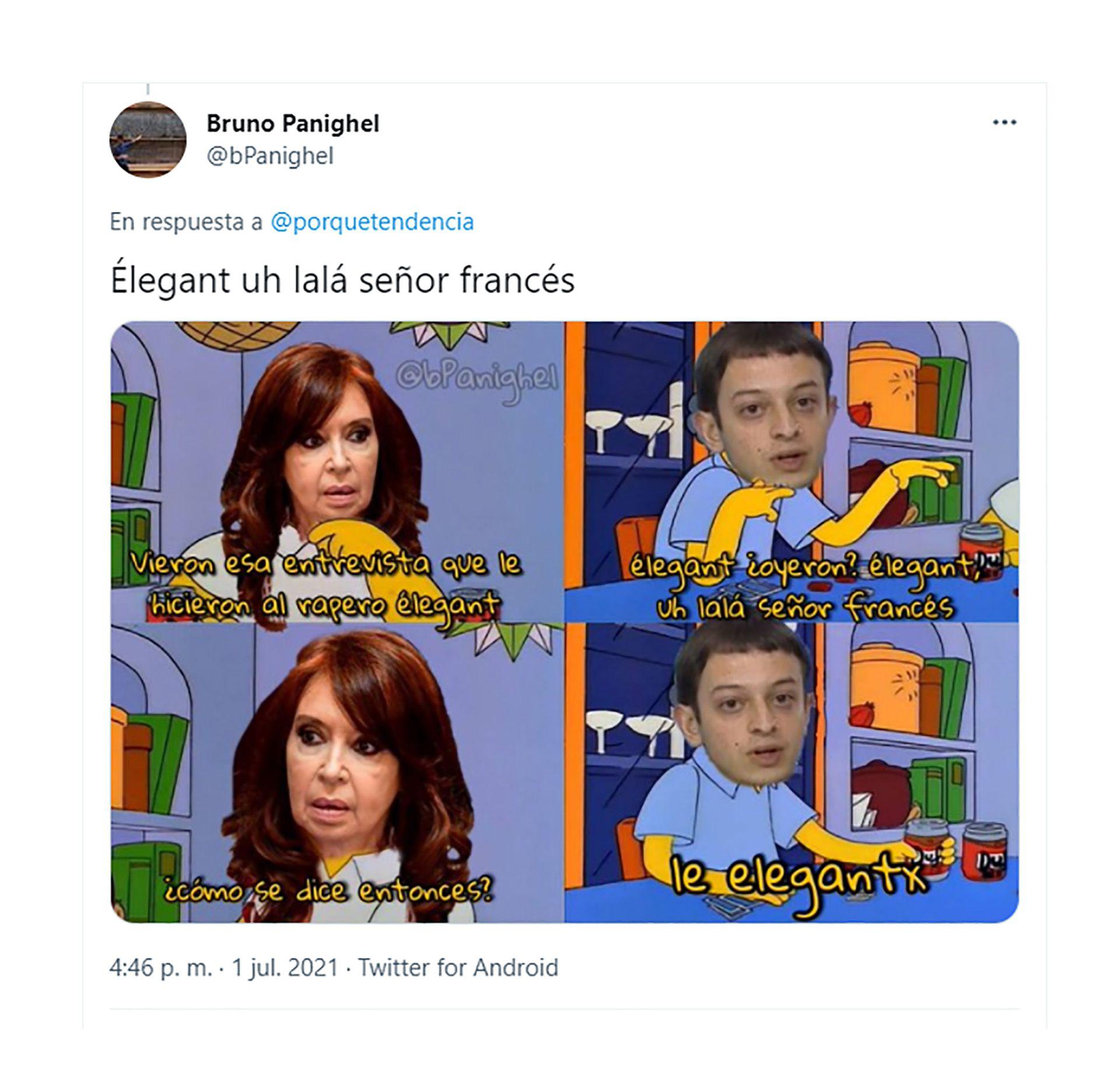 Tuits memes cristina kirchner elegante L-Gante