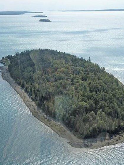 La vista aérea de la isla muestra la extensión del bosque, donde residen ciervos y águilas (Foto: Berkshire Hathaway)