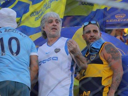 Di Zeo y Mauro Martín, al frente de la Doce (Foto NA: DELFO RODRIGUEZ)