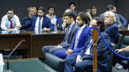 """Los miembros de """"Bandera Negra"""" durante el juicio realizado en Mar del Plata"""