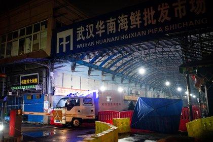Miembros del equipo de emergencia de higiene de abandonan el mercado de mariscos de Huanan, en Wuhan, donde se predume que se originó el nuevo coronavirus. (Photo by NOEL CELIS / AFP)