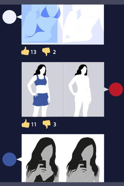 Una aplicación similar a DeepNude utiliza la inteligencia artificial para crear imágenes falsas de mujeres desnudas —y también de niñas— a partir de fotos reales de ellas vestidas. (Sensity AI)