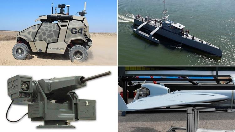 Cuatro sistemas de armas autónomas actualmente en funcionamiento o desarrollo (en sentido horario): el vehículo israelí de patrullaje Guardium, el buque estadounidense Sea Hunter, la torreta surcoreana Super Aegis II y el drone anti radares Harpy