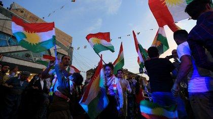 Kurdos celebran en Duhok, Irak, luego de la celebración del referéndum (Reuters)
