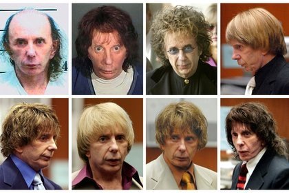 Phil Spector con varias pelucas durante su juicio (Reuters/ Files/ archivo)