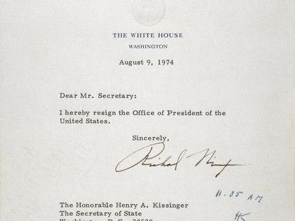La carta de renuncia de Richard Nixon