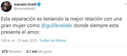 """El tuit de Marcelo Tinelli en 2015, cuando se refería a la """"momentánea"""" separación de Guillermina Valdés"""