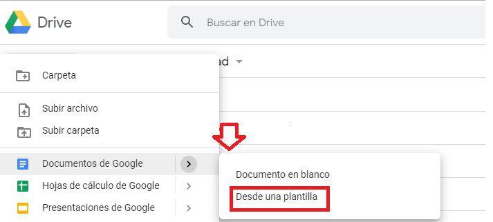 """Al momento de crear un documento hay que elegir la opción """"Desde una plantilla""""."""