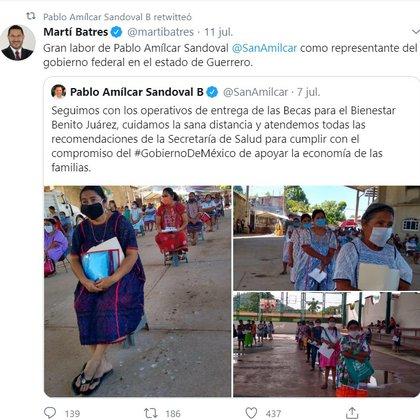 El mensaje lo compartió el senador Martí Batres quien agradeció su ayuda como representante del gobierno. (Foto: Twitter)