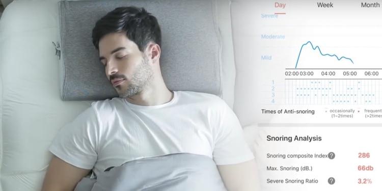 La app vinculada a la almohada recoge información sobre la calidad de sueño.