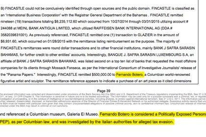 La mención a Fernando Botero en el reporte secreto al que accedió Infobae como socio de FinCEN Files.