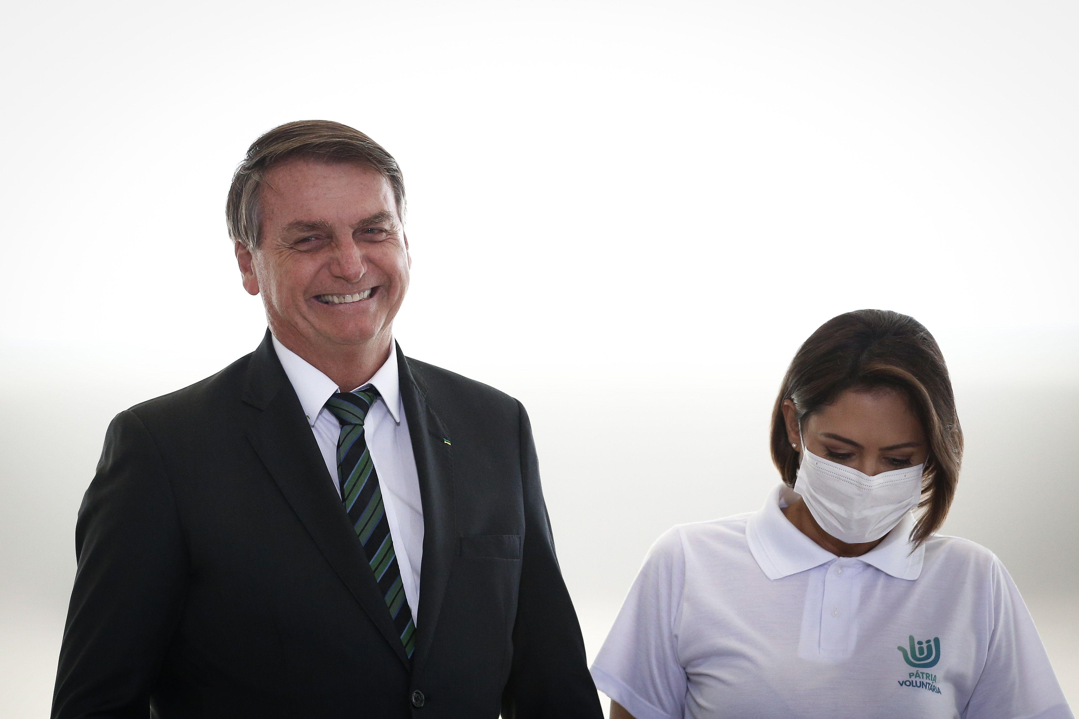 16/02/2021 El presidente de Brasil, Jair Bolsonaro, y la primeira dama, Michele Bolsonaro. POLITICA SUDAMÉRICA BRASIL INTERNACIONAL LATINOAMÉRICA O GLOBO / ZUMA PRESS / CONTACTOPHOTO