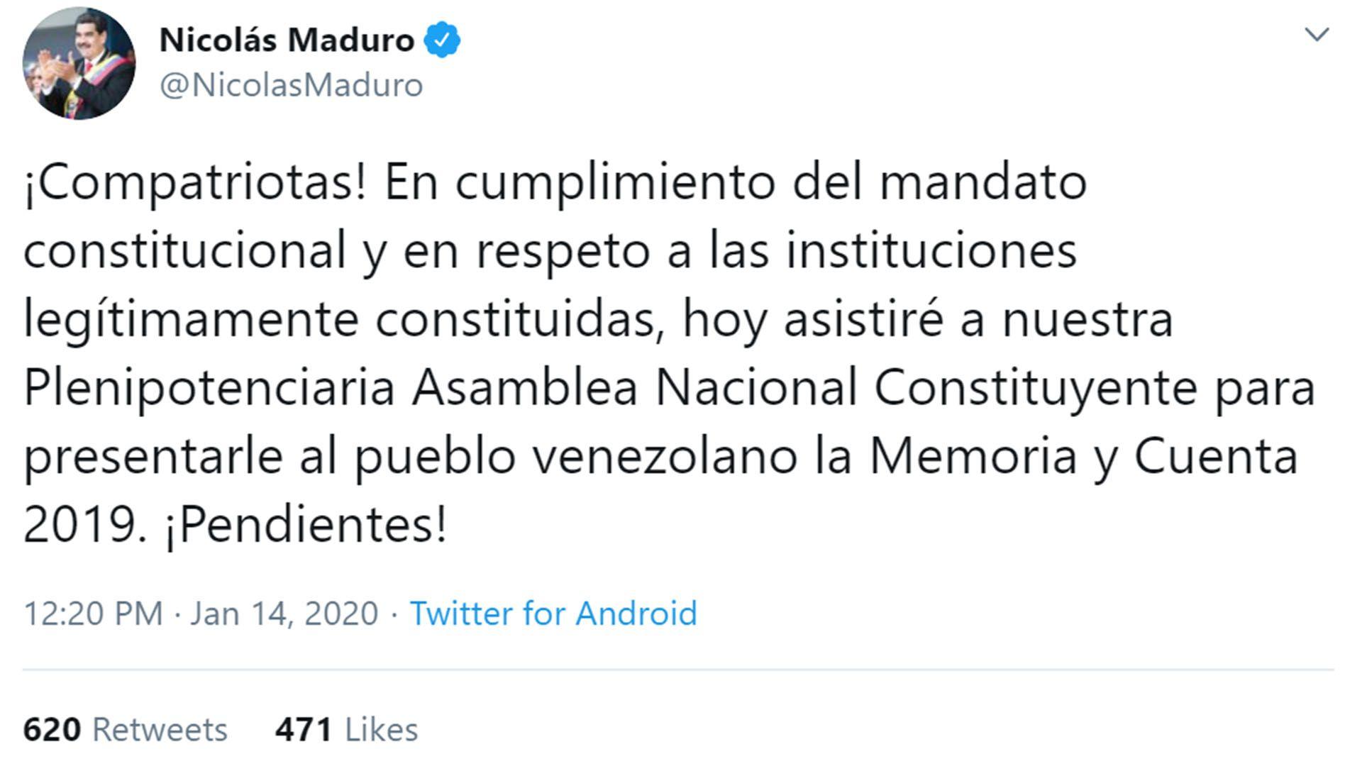 Nicolás Maduro confirmó que hoy presenta la memoria y balance