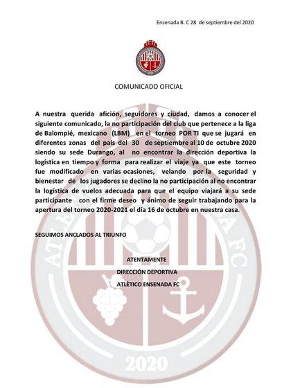 Comunicado de Atlético Ensenada declinando participar en el torneo amistoso (Foto: Atlético Ensenada)