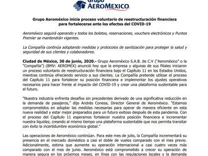 Parte del comunicado de Aeroméxico donde explica su plan para sobrevivir a la crisis económica desatada por el COVID-19 (Foto: Cortesía)