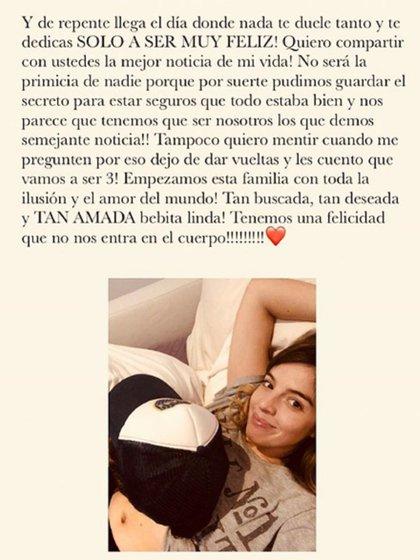 El mensaje que posteó Dalma Maradona en las redes sociales para anunciar su embarazo