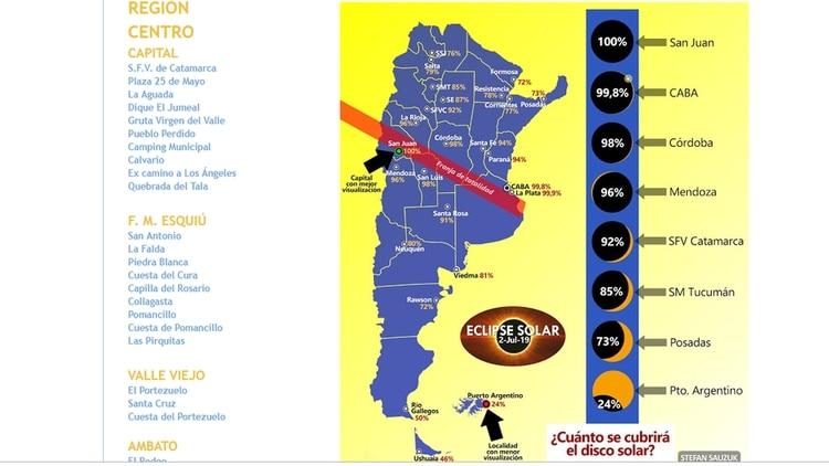 El eclipse se verá en todo el país, en diferentes parcialidades y en forma total en una estrecha franja