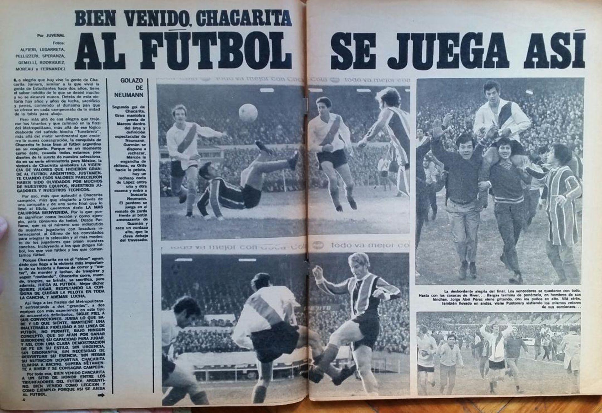 Una nota de la revista El Gráfico, con la firma de Juvenal.