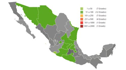 Estados con más de 50 y hasta 100 contagios por coronavirus en México (Foto: Secretaría de Salud)