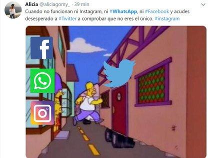 Los usuarios comparten por Twitter sus opiniones sobre las fallas en WhatsApp, Instagram y Facebook.