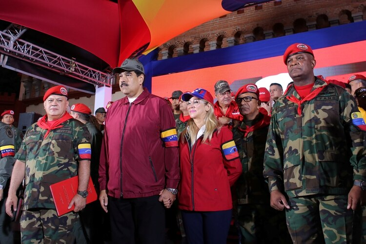 Venezuela's President Nicolas Maduro takes part in a rally during the commemoration of Hugo Chavez's coup attempt in Caracas, Venezuela February 4, 2020. Miraflores Palace/Handout via REUTERS ATTENTION EDITORS - THIS PICTURE WAS PROVIDED BY A THIRD PARTY.