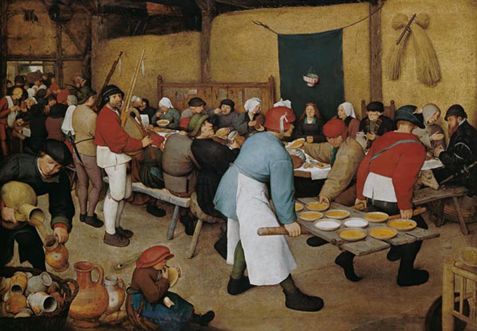"""""""La boda campesina"""" (1568), de Pieter Brueghel el Viejo, en Museo de Historia del Arte de Viena. Óleo sobre madera: 164 x 114 cm"""