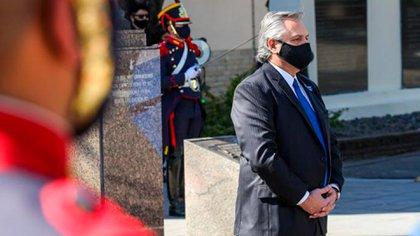 Alberto Fernández, al mediodía, en el acto aniversario por la muerte del General San Martín (Presidencia)