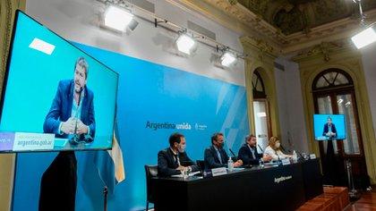 Lammens y Katopodis hoy en conferencia de prensa en la Casa Rosada