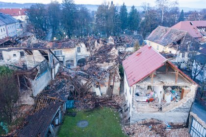 Rubble after the earthquake in Petrinja, one of the most affected cities (Reuters)