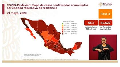 Mapa de casos confirmados acumulados por entidad federativa de residencia (Foto: SSa)