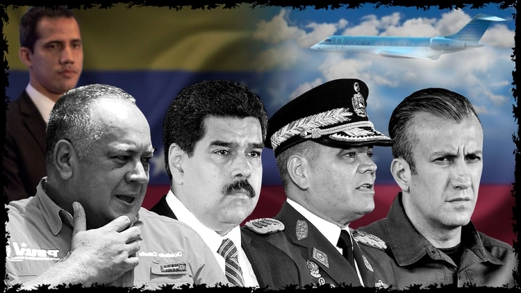 Diosdado Cabello, Nicolás Maduro, Vladimir Padrino y Tareck El Aissami Juan Guaido