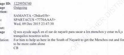 """H2: """"Que nos ayude aquí en el sur de Nayarit para sacar a los 'menchos' y estar más tranquilos nosotros solos"""" (Captura: Expediente Departamento de Justicia EEUU)"""