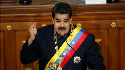El presidente venezolano Nicolás Maduro en su discurso durante la sesión de la Asamblea Constituyente el jueves (Reuters)