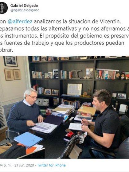 El presidente y su interventor designado, Gabriel Delgado, que sería también parte de la intervención en la propuesta de Perotti