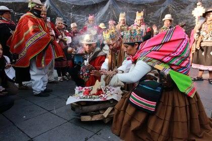 Ceremonias tradicionales por la toma de posesión de Luis Arce como presidente, en La Paz (Europa Press)