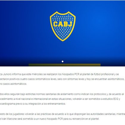 El comunicado de Boca con el que informa los 18 casos de coronavirus en el plantel profesional