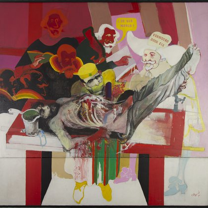 """Lección de anatomía"" (1970). Acrílico sobre tela, 210 x 200 cm (Foto: Magdalena Audap- Soubie)"