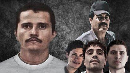 El CJNG encabezado por el Mencho (izquierda) y el Cártel de Sinaloa con el Mayo Zambada y Los Chapitos (derecha) son los grupos criminales con mayor presencia en México y EEUU (Fotoarte: Steve Allen)