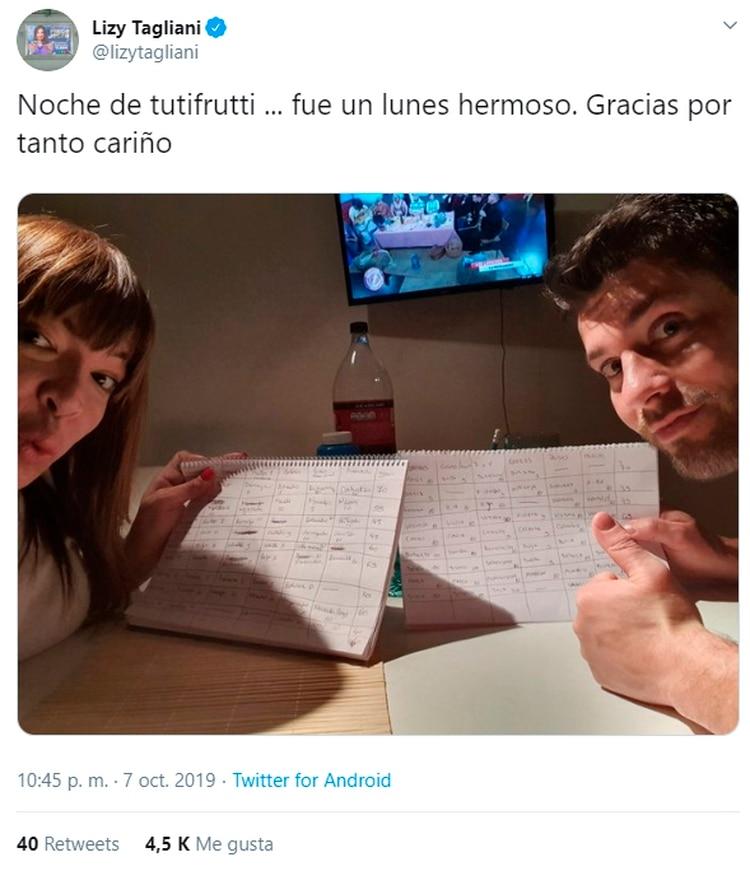 Lizy Tagliani y su novio (Twitter)