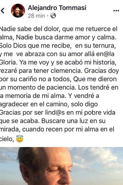 Alejandro Tomassi escribió este mensaje, el cual conmocionó a sus fans (Facebook: Alejandro Tomassi)