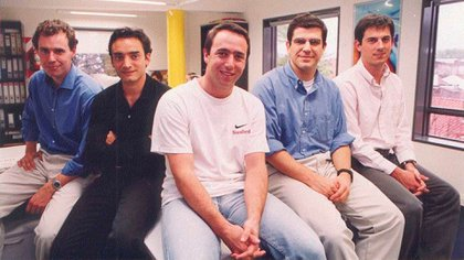 Los primeros años: Osvaldo Giménez, VP de Mercado Pago; Hernán Kazah, cofundador y ex COO; Marcos Galperin; Nicolás Szekasy, ex CFO; yMartin Lowson, VP de Clasificados