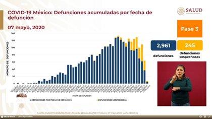 Las fatalidades superaron los 250 casos en un periodo de 24 horas por primera vez desde el inicio de la epidemia de coronavirus en México (Foto: SSa)