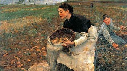 """""""La cosecha de papa"""", del pintor francés Jules Bastien-Lepage (1868 -1916)"""