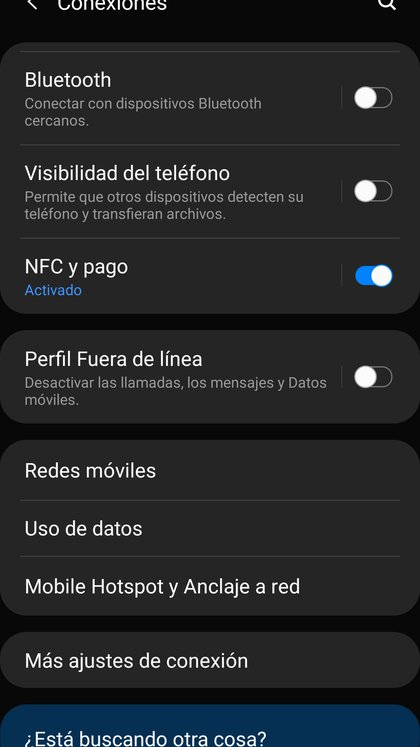 """Dentro del menú de configuración del celular la opción """"Mobile hotspot y anclaje de red"""" permite utilizar el smartphone como punto de acceso a la red."""