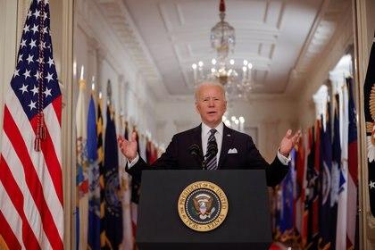 El presidente de EEUU, Joe Biden, durante su primer mensaje a la nación