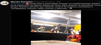 En Twitter denunciaron ingreso de inrregulares a establecimiento público en Orito, Putumayo. Crédito @MarchaPatriotica