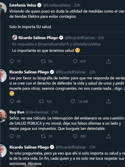 El intercambio de Tweets entre Ricardo Salinas Pliego y Estefanía Veloz (Captura de Pantalla: Twitter)